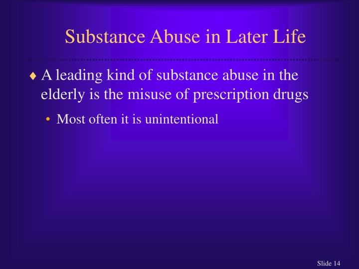 Substance Abuse in Later Life