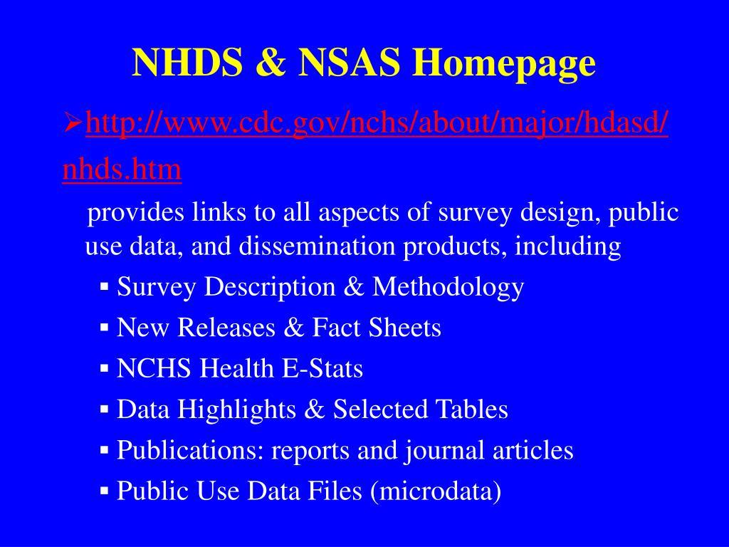 NHDS & NSAS Homepage