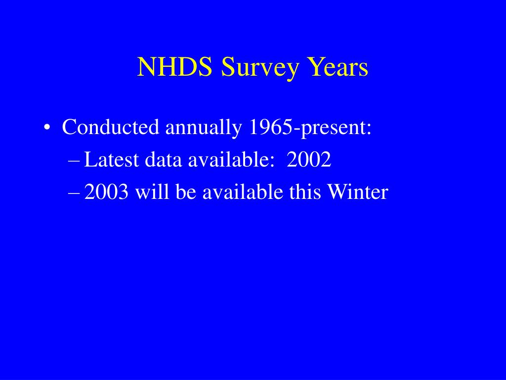 NHDS Survey Years