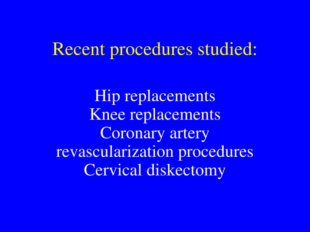 Recent procedures studied: