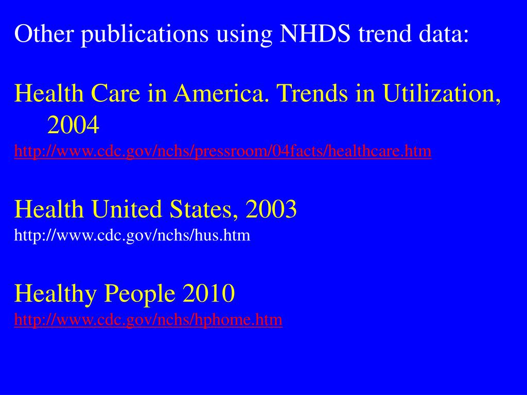 Other publications using NHDS trend data: