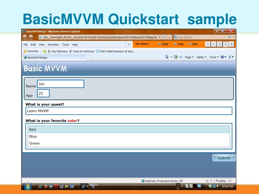 BasicMVVM Quickstart  sample