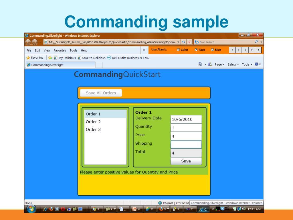 Commanding sample