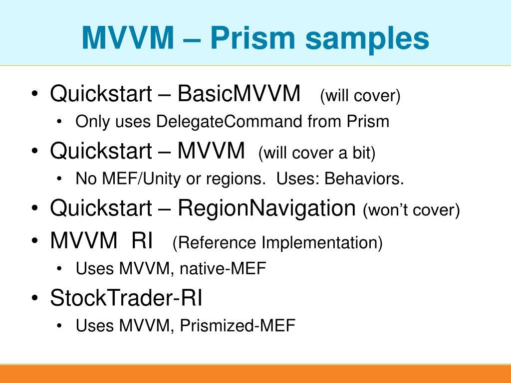 MVVM – Prism samples