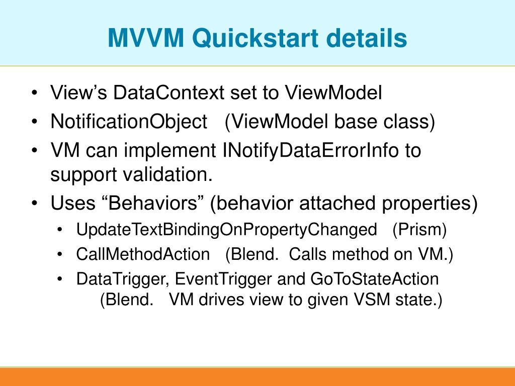 MVVM Quickstart details