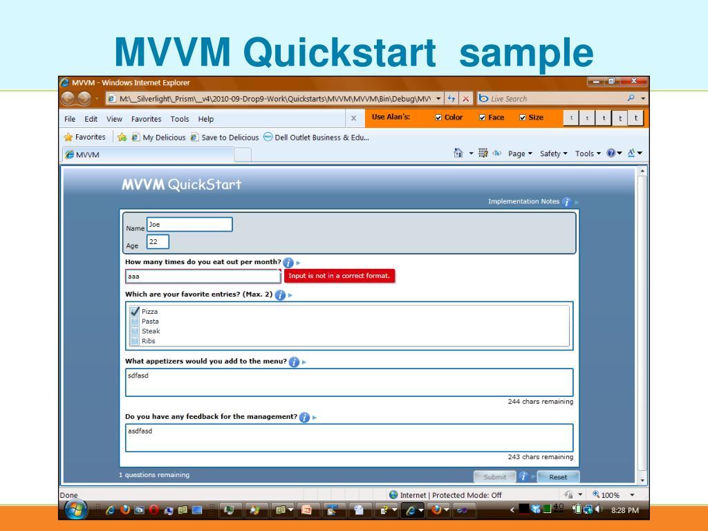 MVVM Quickstart  sample