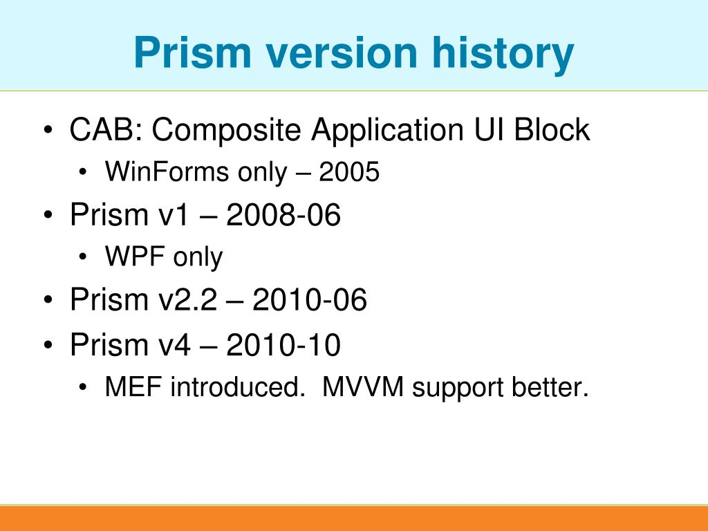 Prism version history