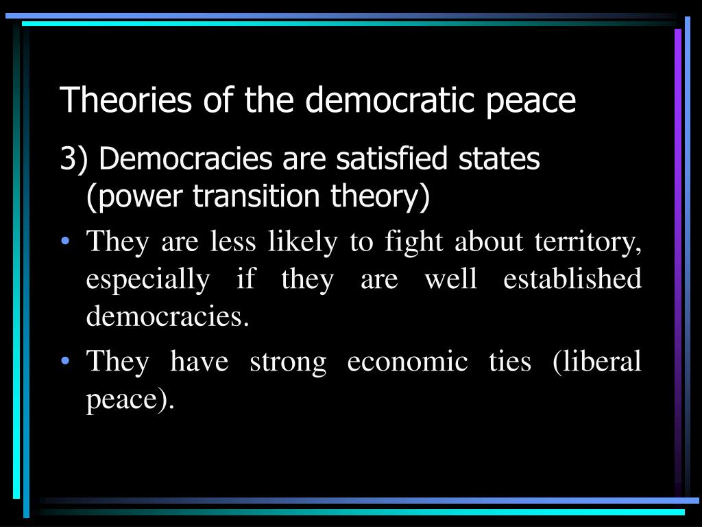 an analysis of democratic peace Democratic peace theory: a review by nazmus sakib phd student, department of political science, texas tech university date: 5th november, 2014 literature review time series data shows that.