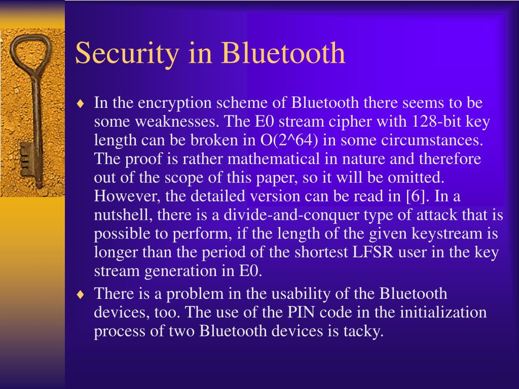 Security in Bluetooth