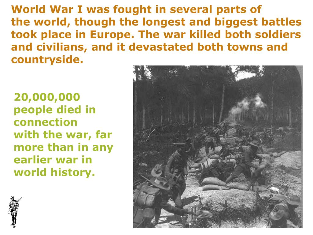 World War I was fought in several parts of