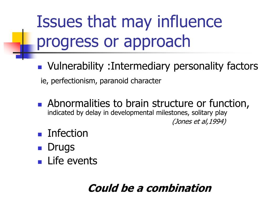 Issues that may influence progress or approach