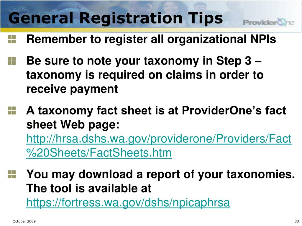 General Registration Tips