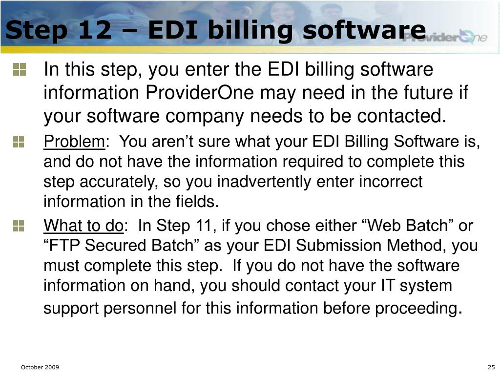 Step 12 – EDI billing software