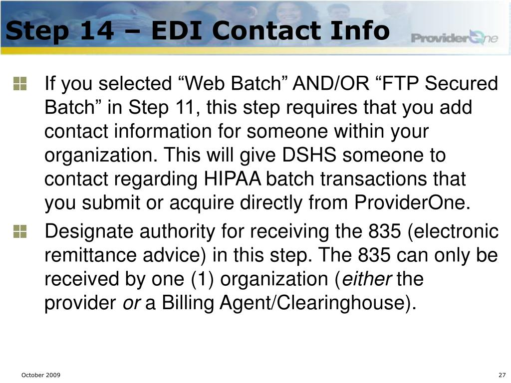 Step 14 – EDI Contact Info