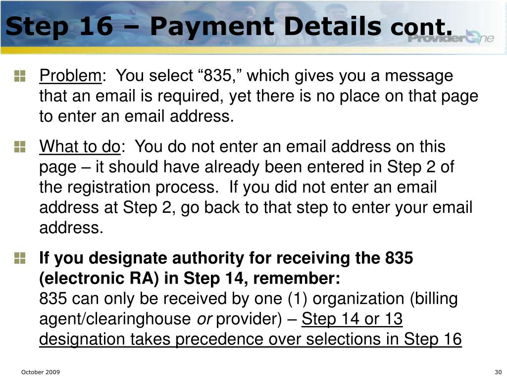 Step 16 – Payment Details