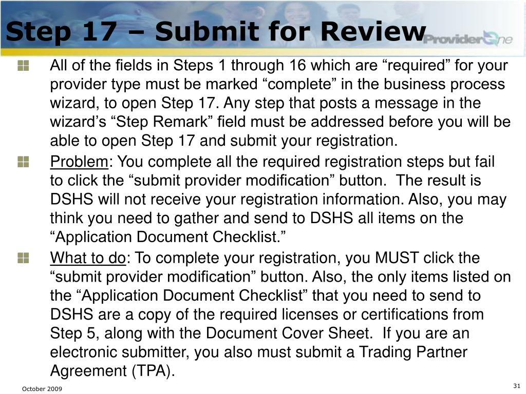 Step 17 – Submit for Review