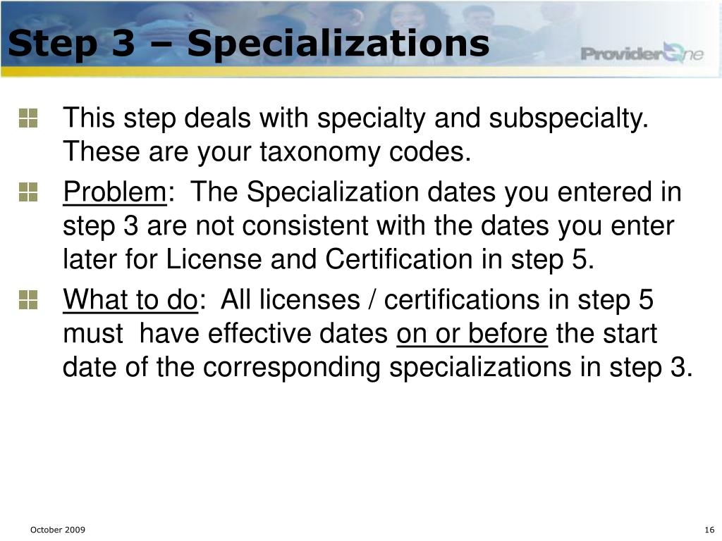 Step 3 – Specializations