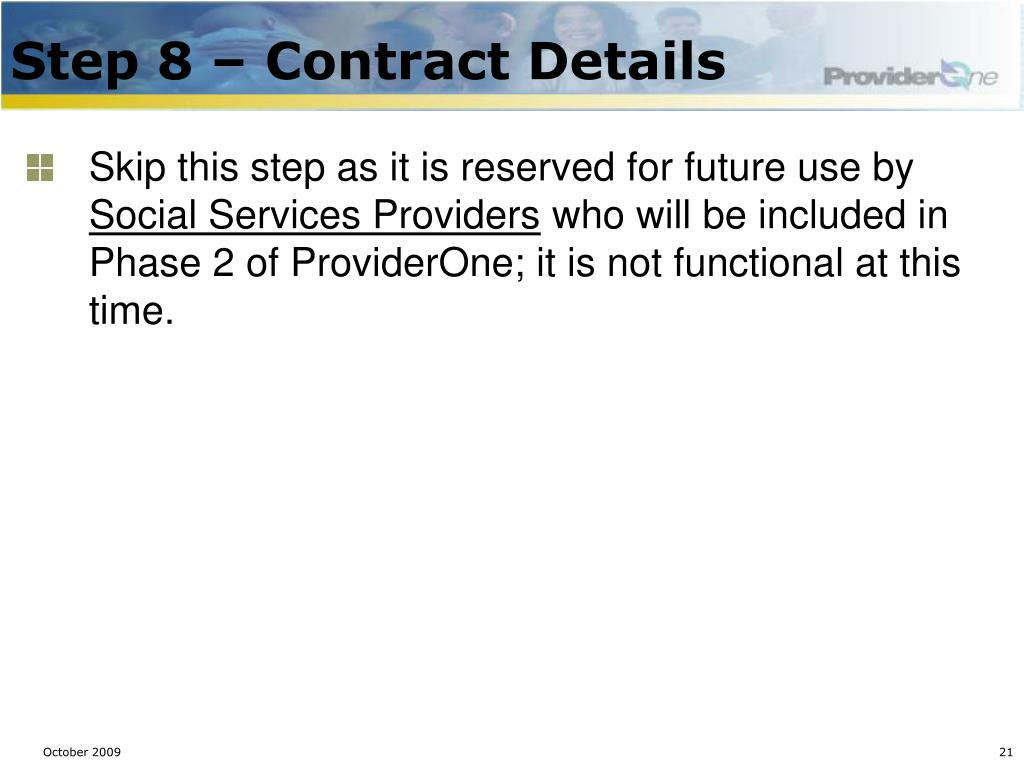 Step 8 – Contract Details