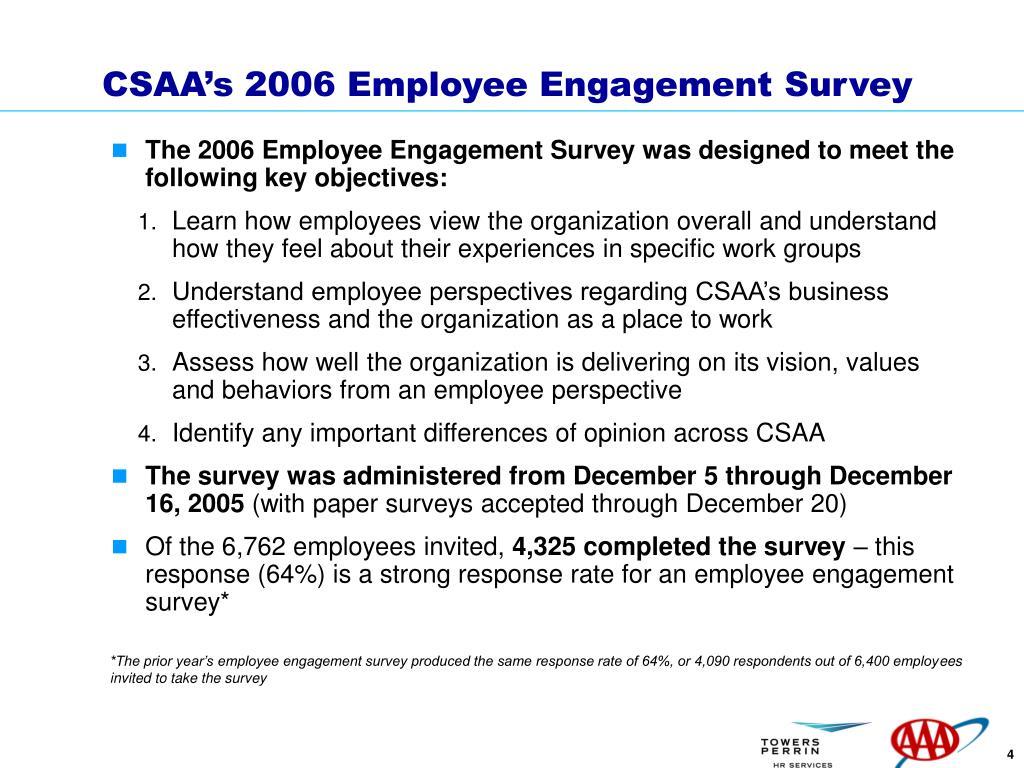 CSAA's 2006 Employee Engagement Survey