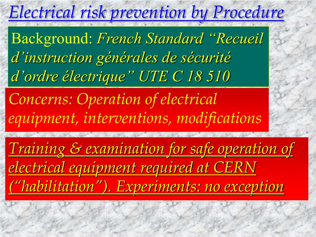 Electrical risk prevention by Procedure