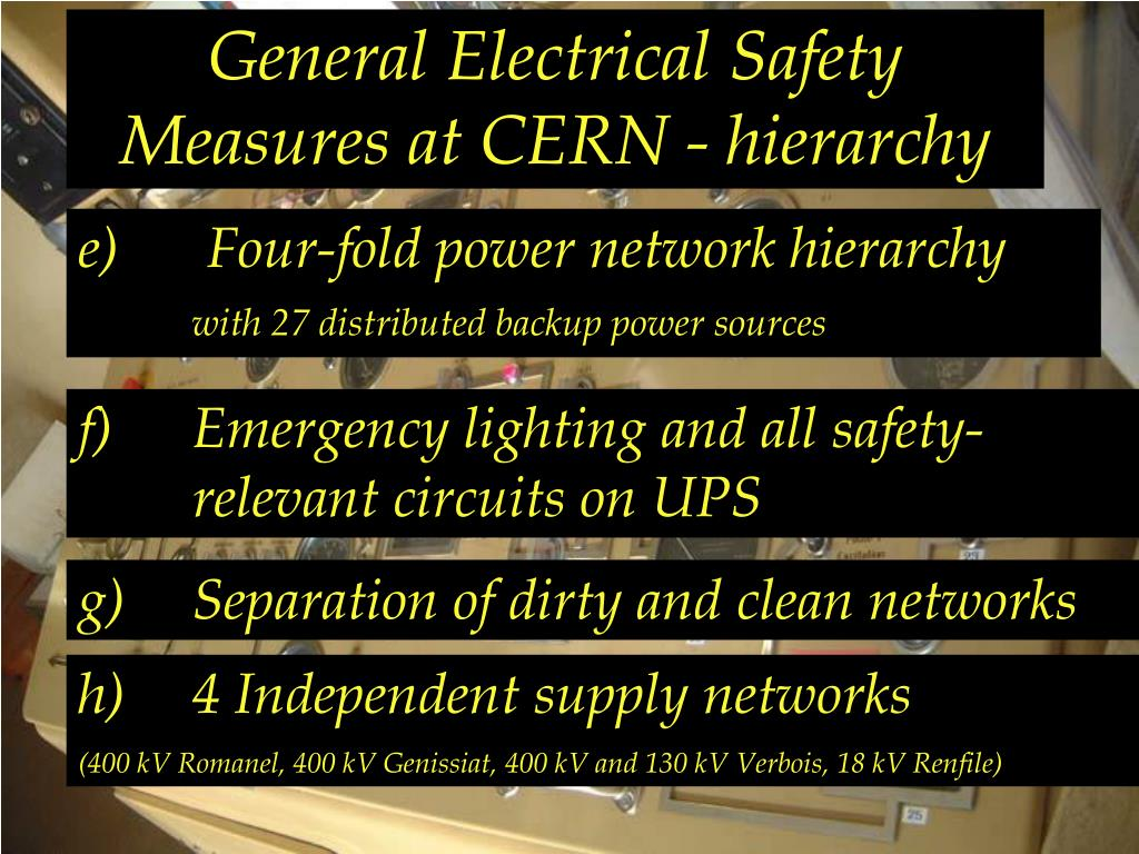 General Electrical Safety Measures at CERN - hierarchy
