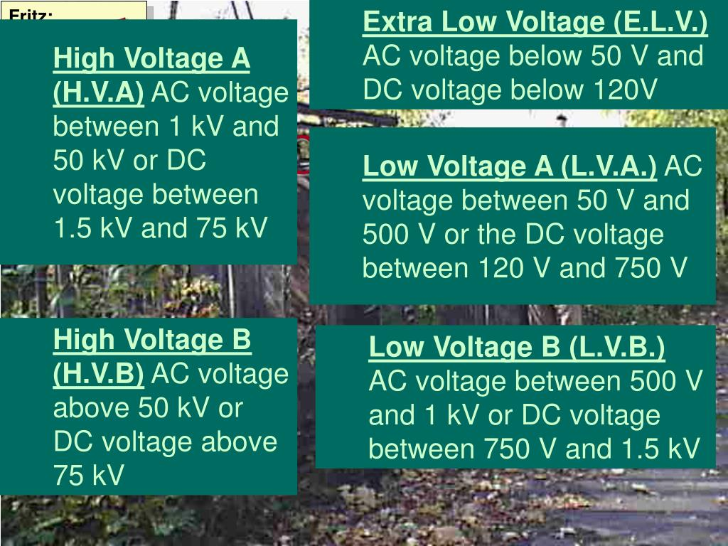 Extra Low Voltage (E.L.V.)
