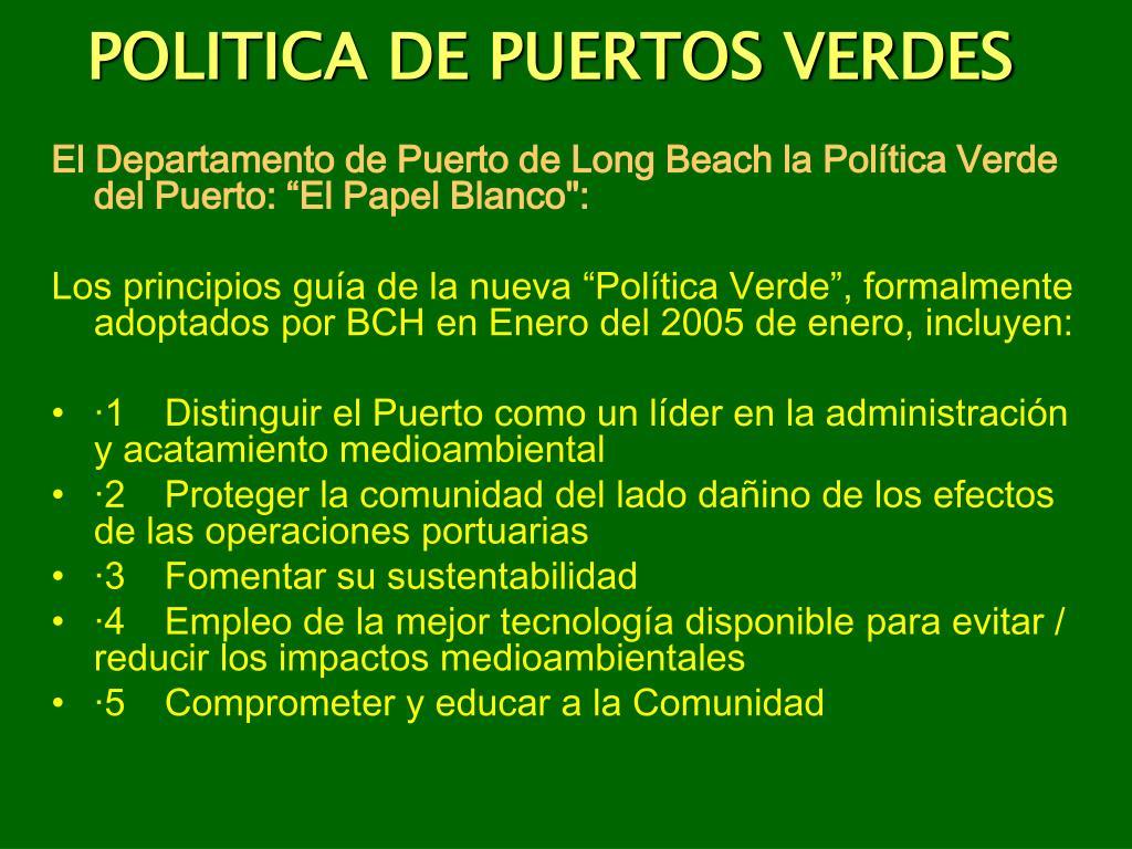POLITICA DE PUERTOS VERDES