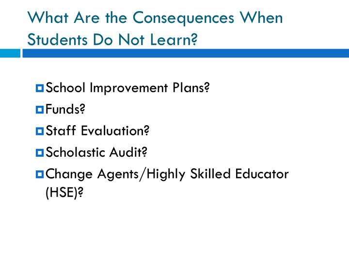 What are the consequences when students do not learn