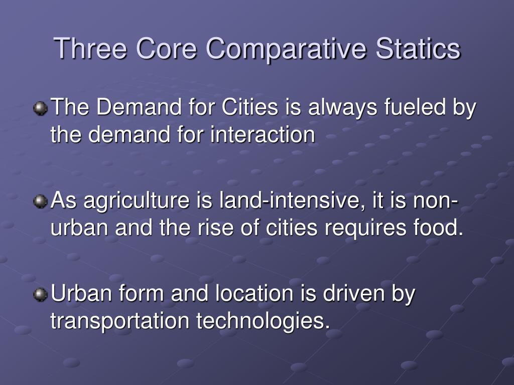 Three Core Comparative Statics