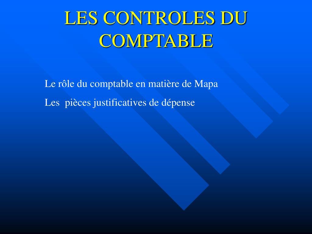 LES CONTROLES DU COMPTABLE