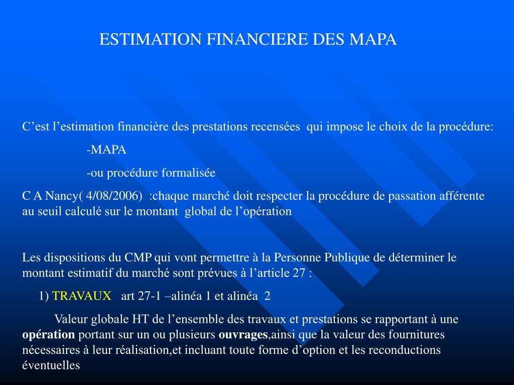 ESTIMATION FINANCIERE DES MAPA