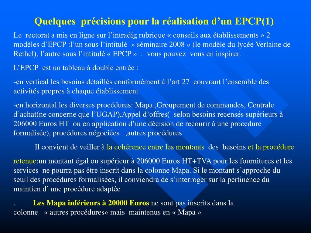 Quelques  précisions pour la réalisation d'un EPCP(1)