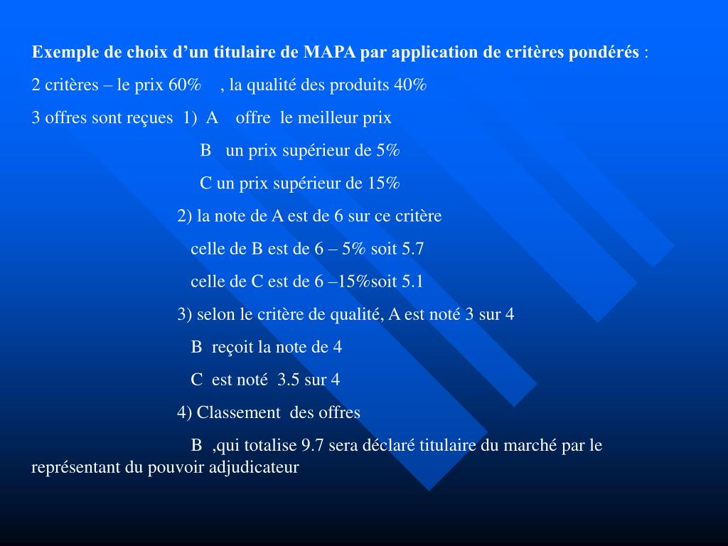 Exemple de choix d'un titulaire de MAPA par application de critères pondérés