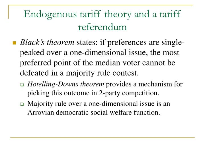 Endogenous tariff theory and a tariff referendum