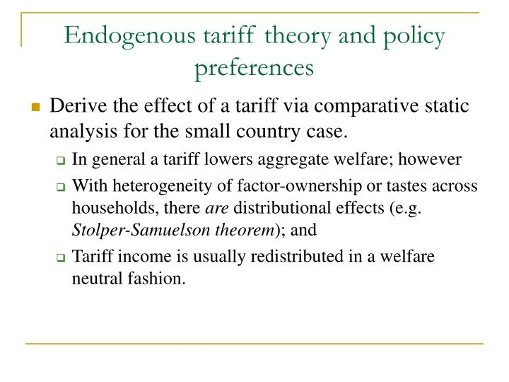 Endogenous tariff theory and policy preferences
