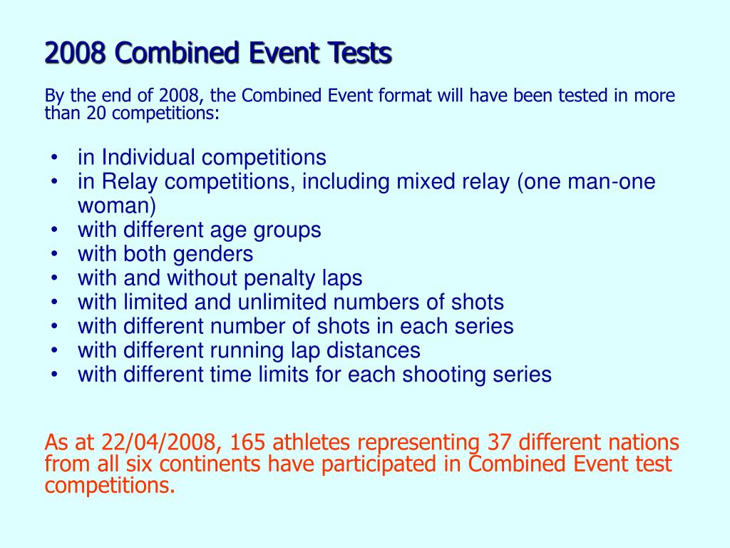 2008 Combined Event Tests