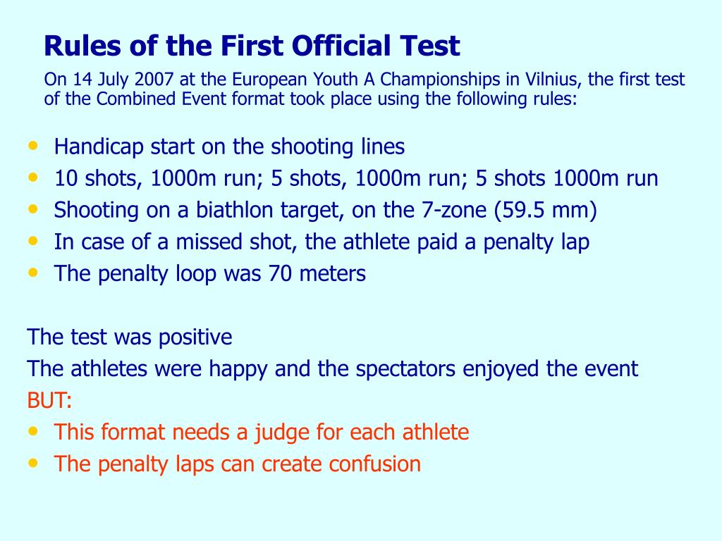 Rules of the First Official Test