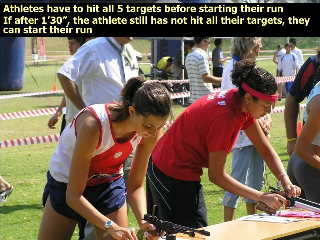 Athletes have to hit all 5 targets before starting their run