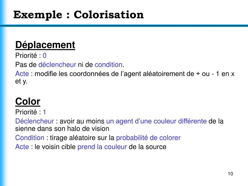 Exemple : Colorisation