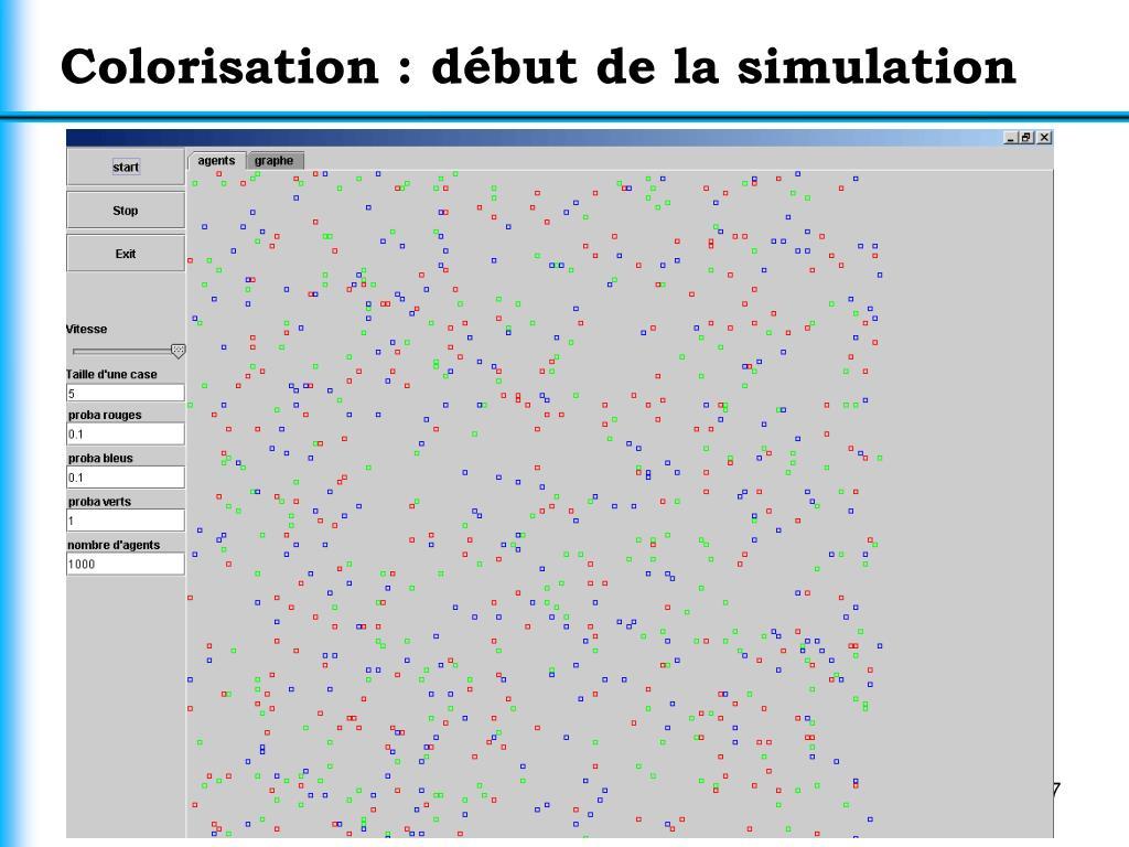 Colorisation : début de la simulation