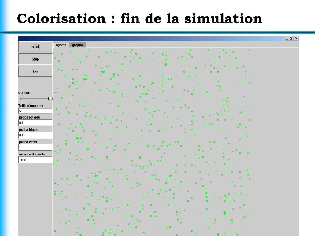 Colorisation : fin de la simulation