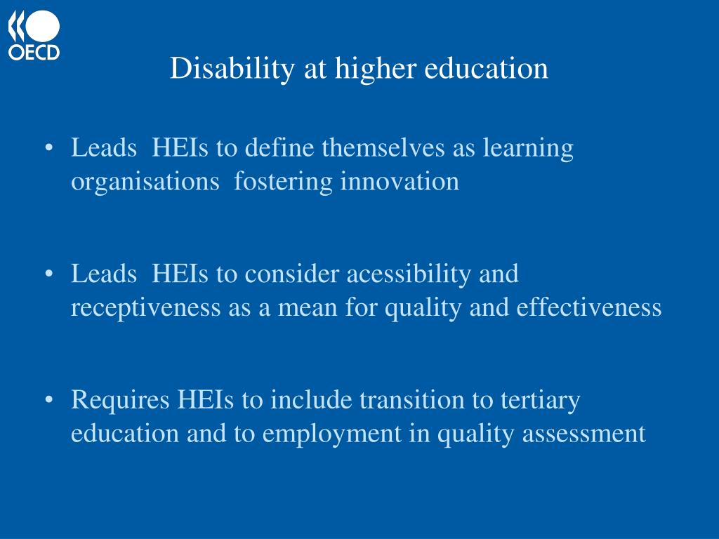 Disability at higher education