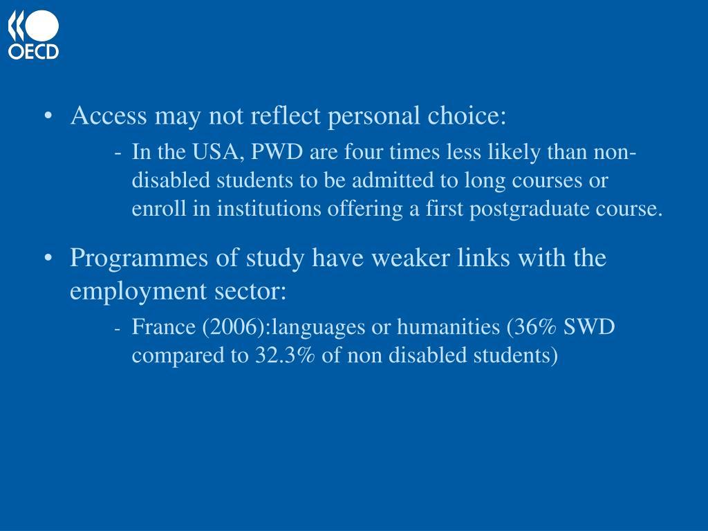 Access may not reflect personal choice