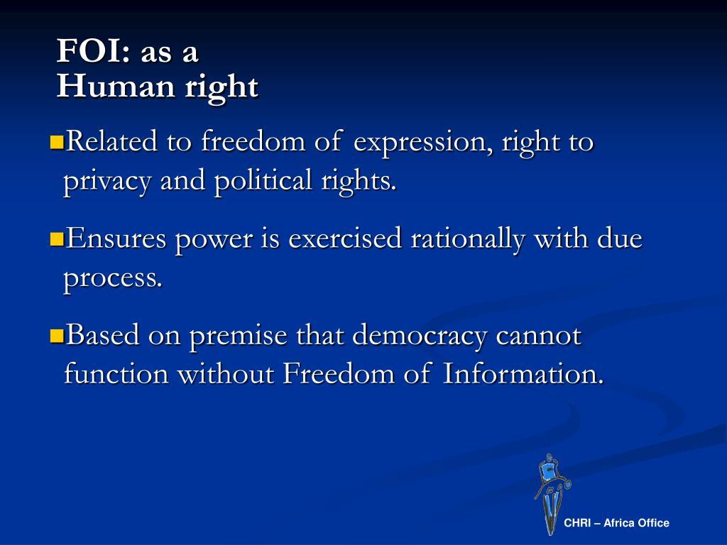 FOI: as a Human right