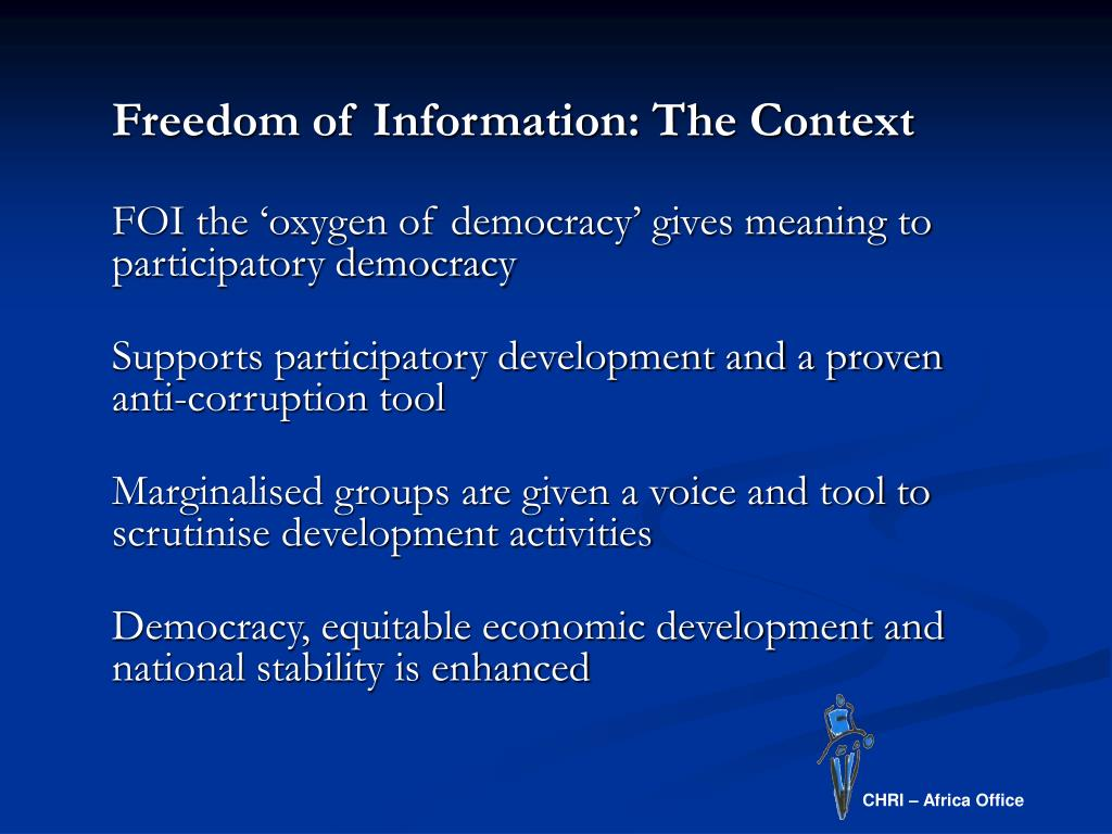 Freedom of Information: The Context