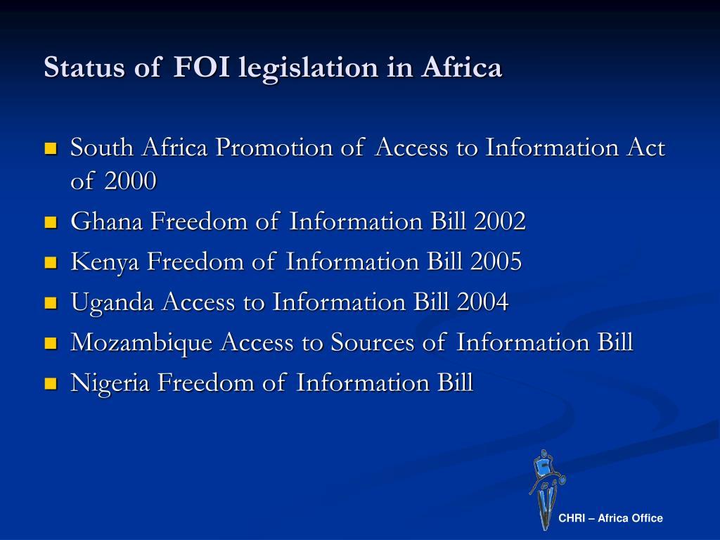 Status of FOI legislation in Africa