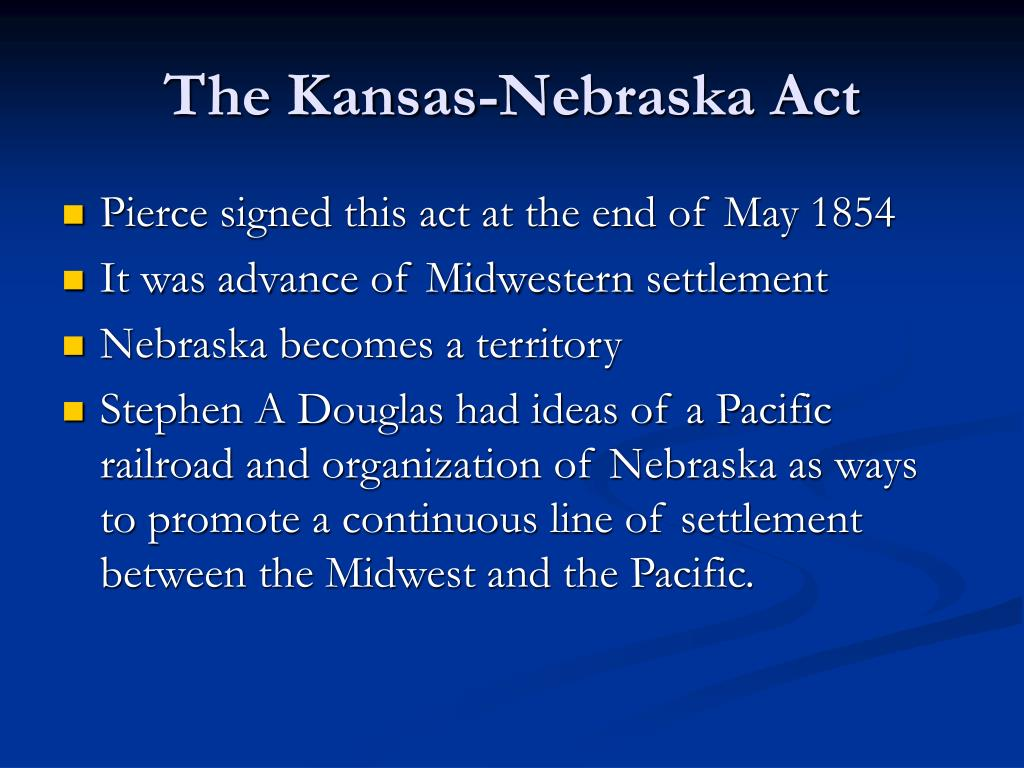 an introduction to the kansas nebraska act Chapter 14: the politics of slavery, 1848-1860 overview the politics of slavery erupted at a time of tremendous economic growth in the united states between the parties and their candidates were made based on their positions on the kansas-nebraska act this.