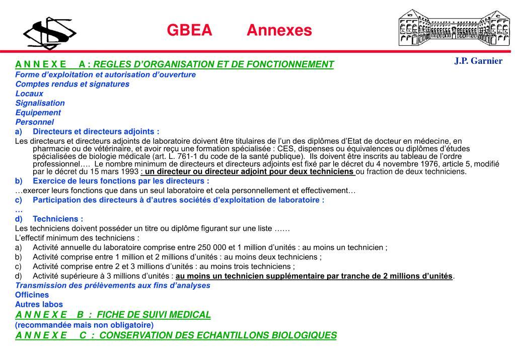 GBEA        Annexes