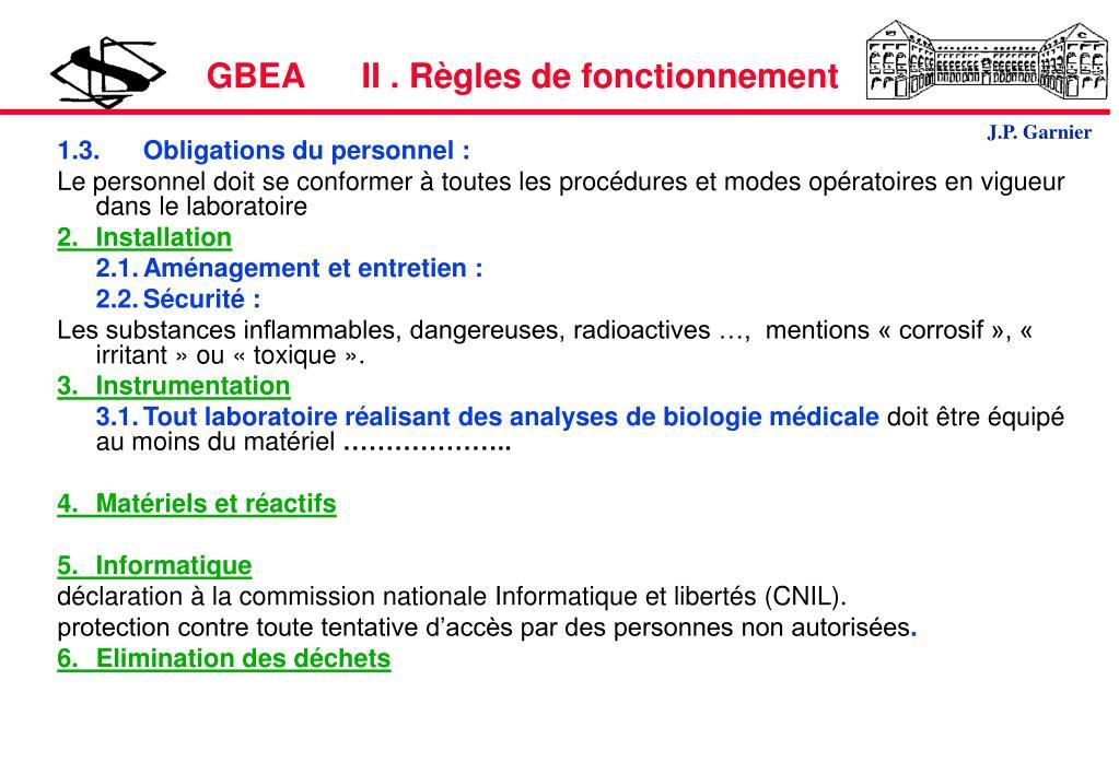 GBEA      II . Règles de fonctionnement