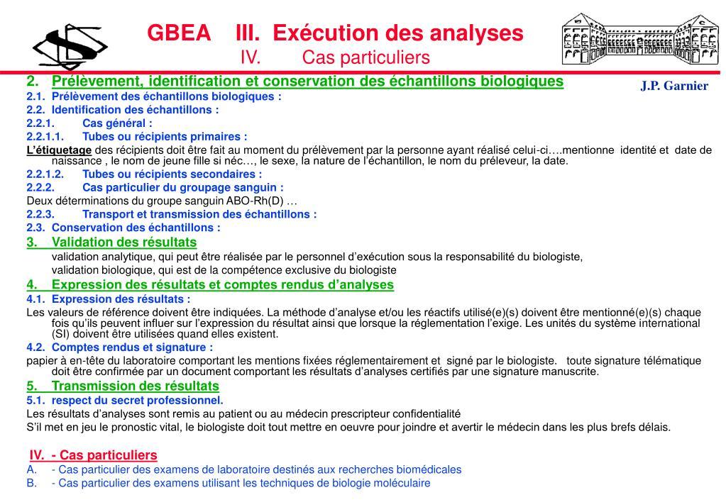 GBEA    III.  Exécution des analyses